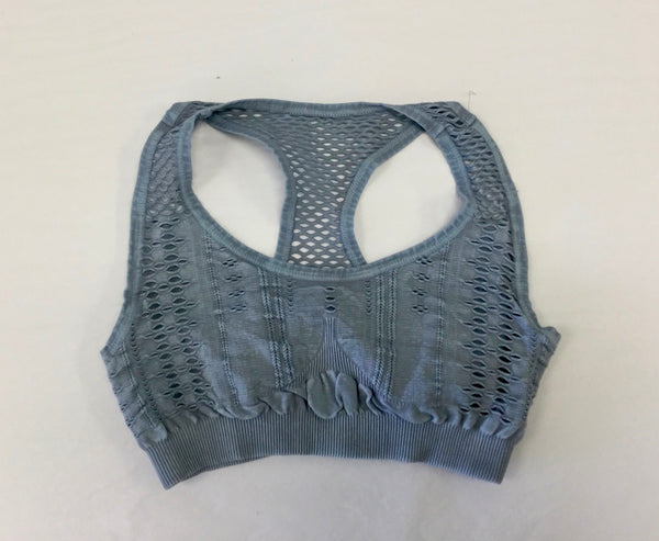 Must Have Fave Perforated Distressed Bralette - One Size - Vintage Bluestone