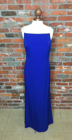 Karl Lagerfeld Pearl Strap Column Gown Blue