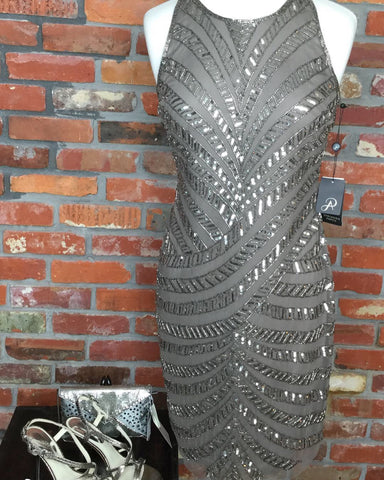 Adrianna Papell Sleeveless Beaded Sheath Dress - Gunmetal Lead