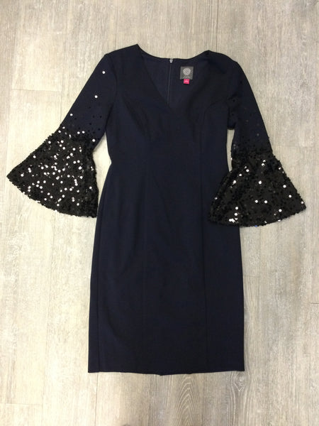 Vince Camuto Embellished Bell Sleeve Shift Dress - Navy