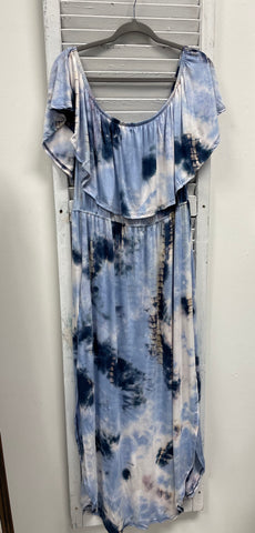Plus Sweet Tie-Dyed Off Shoulder Maxi Dress - Blue