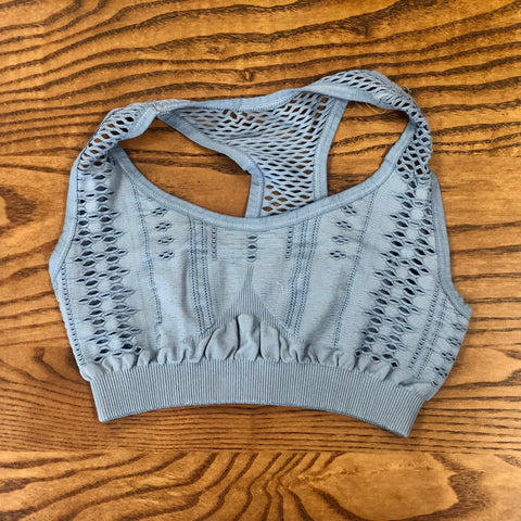 Must Have Fave Perforated Distressed Bralette - One Size - Bluestone
