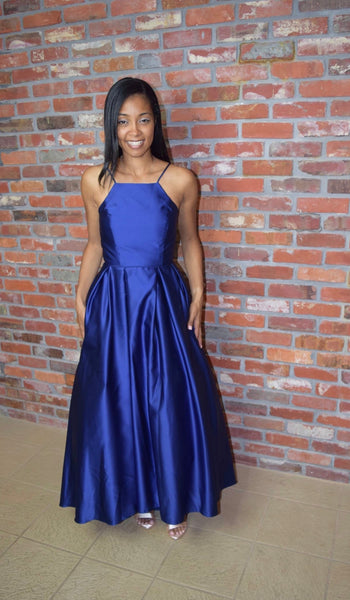 Betsy & Adam Halter Satin Ball Gown Royal