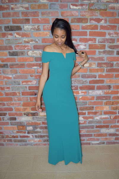 Calvin Klein off the Shoulder Evening Gown Emerald Green
