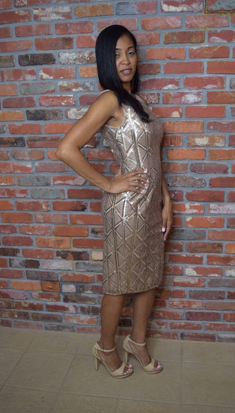 Adrianna Papell Stretch Sequin Cocktail Dress Illusion Neck - Champagne