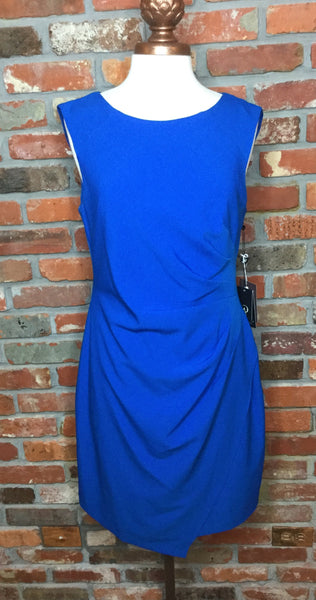 Adrianna Papell Scissor Hem Side Draped Dress - Yves Blue