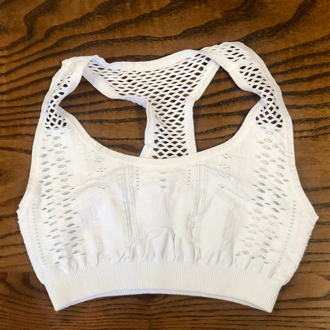 Must Have Fave Perforated Distressed Bralette - One Size - White