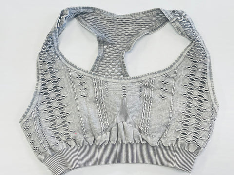 Must Have Fave Perforated Distressed Bralette - One Size - Cool Grey