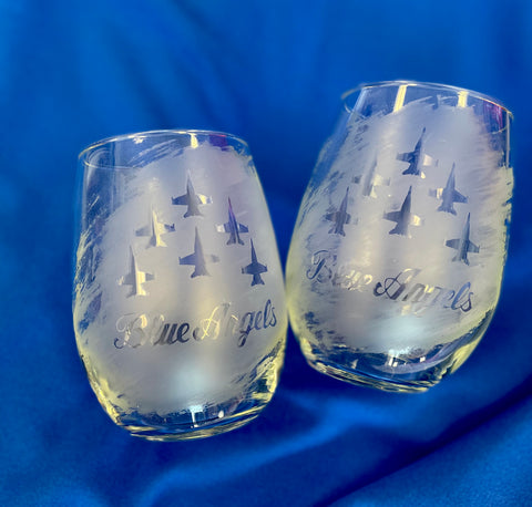 Blue Angels Etched Glass 20oz Stemless Wine Glass