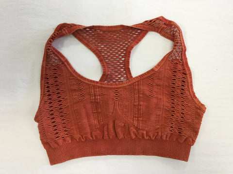 Must Have Fave Perforated Distressed Bralette - One Size - Rust