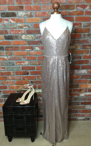 Adrianna Papell Sequin Column Gown - Rose Gold