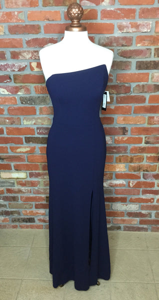 Betsy & Adam Strapless Asymmetrical Slit Gown Night Navy