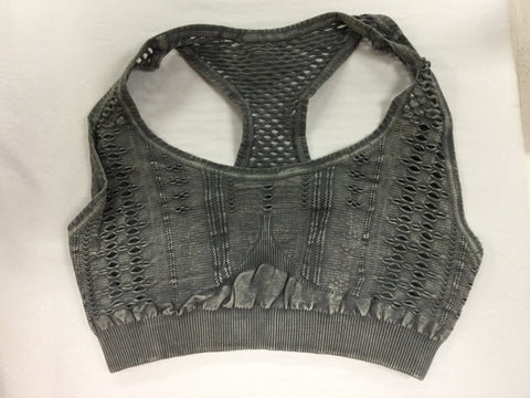 Must Have Fave Perforated Distressed Bralette - One Size - Vintage Rock