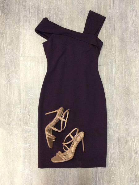 Vince Camuto Asymmetrical Neck Sheath Dress - Mulberry