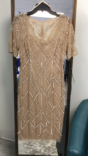 Adrianna Papell Beaded Sheath Cocktail Dress - Champagne
