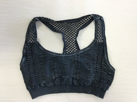 Must Have Fave Perforated Distressed Bralette - One Size - Denim Blue