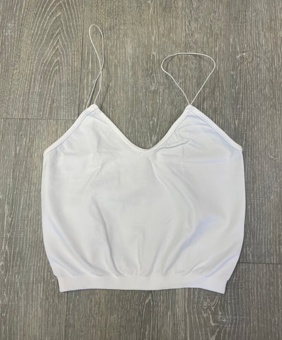 Must Have Fave Skinny Strap Cropped Cami Bra Top - One Size - White
