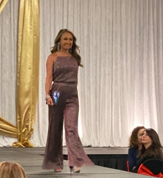 Cupcakes and Cashmere Campell Metallic Shimmer Jumpsuit Purple