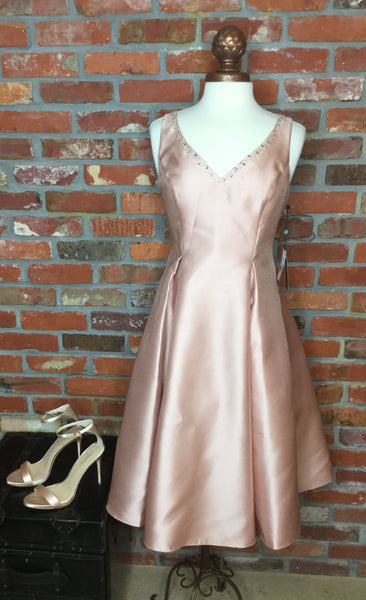 Adrianna Papell Sleeveless Jeweled Neckline Short Dress - Blush