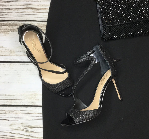 Jewel by Badgley Mischka Tayler Black Glitter Sandals