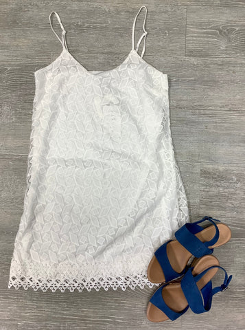 Jack by BB Dakota Gemma Lace Slip Dress Bright White
