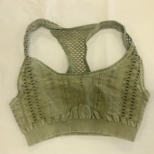 Must Have Fave Perforated Distressed Bralette - One Size - Silver Sage