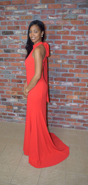 Calvin Klein Halter Mermaid Gown Tango Red