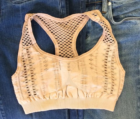 Must Have Fave Perforated Distressed Bralette - One Size - Vintage Beige