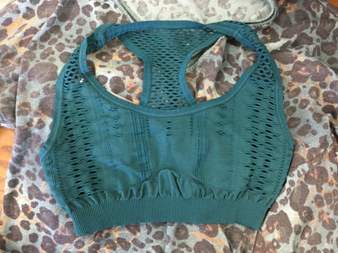 Must Have Fave Perforated Distressed Bralette - One Size - Deep Teal