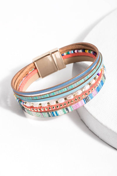 Curacao Colorful Leather Bracelet with Freshwater Pearls
