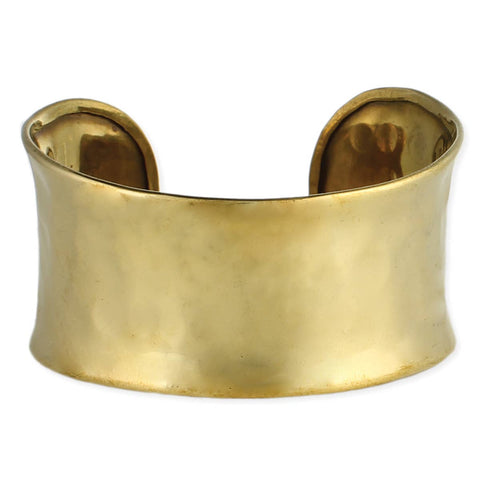 Gold Hammered Rounded Cuff Bracelet