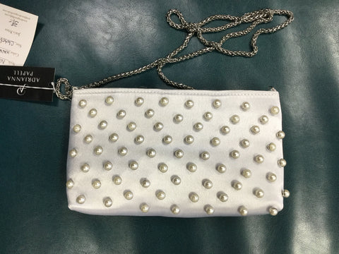 Adrianna Papell Noa Pearl Clutch - White