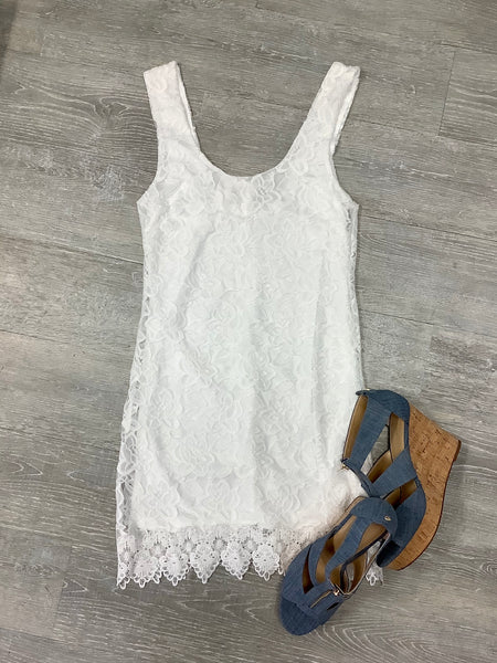 Jack by BB Dakota Grow with it Lace Dress off white
