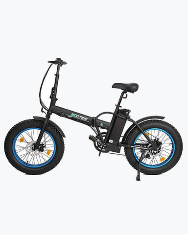 Ecotric 48V 500W Portable Folding Fat Tire Electric Bike with LCD Display