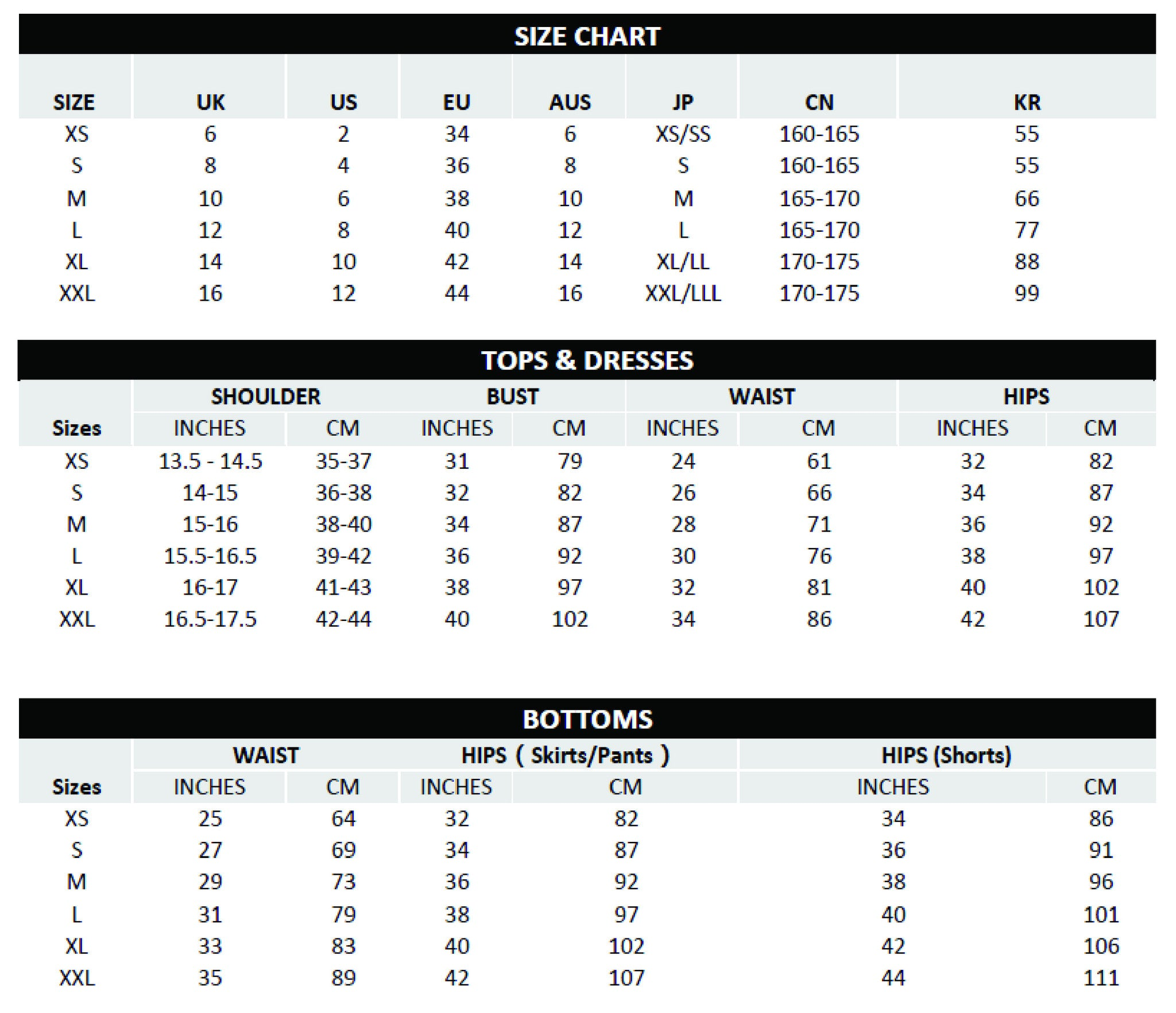 Measurements Shown In The Size Guide Refer To Body Measurements And Not Measurements Of The Garment