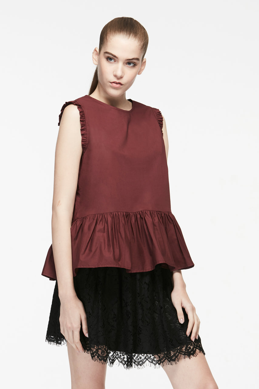 GATHERED HEM SLEEVELESS BLOUSE