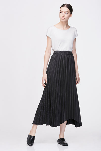 IRREGULAR PLEATED MAXI SKIRT