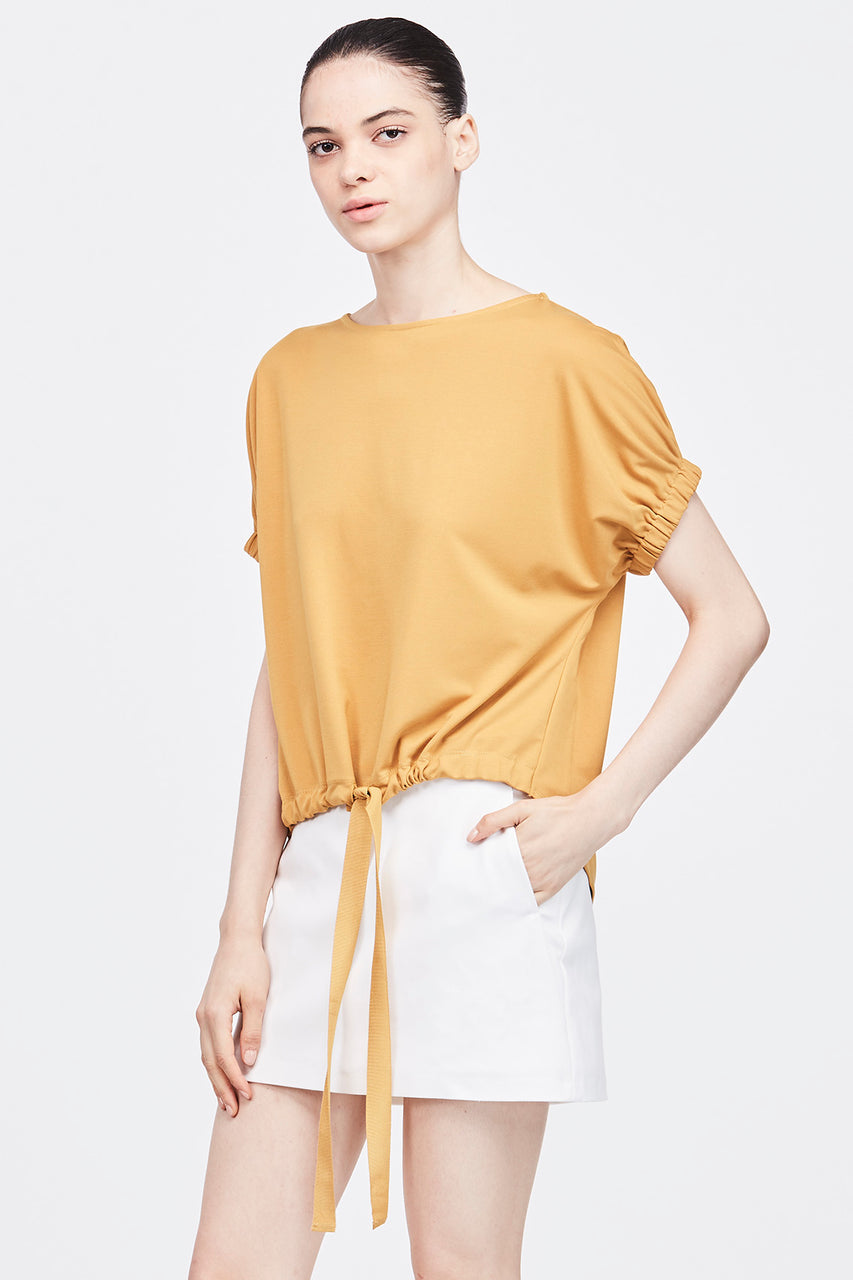 ELASTIC GATHERED SHORT SLEEVES TOP