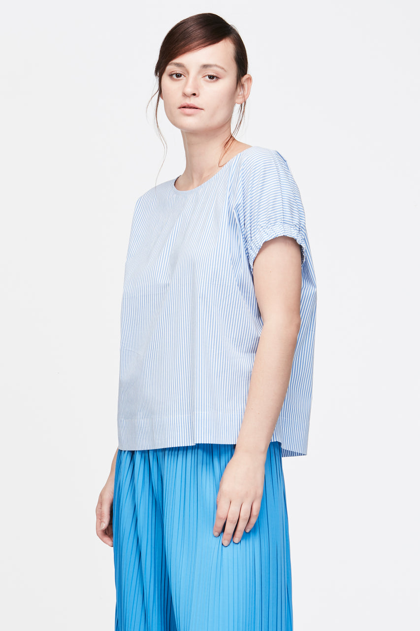 ELASTIC GATHERED SLEEVES BLOUSE