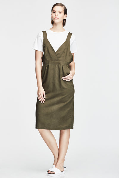 SUSPENDER MIDI DRESS