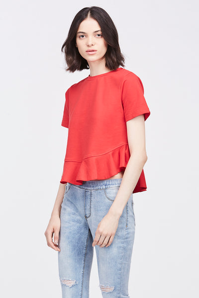 FLOUNCED HEM TOP