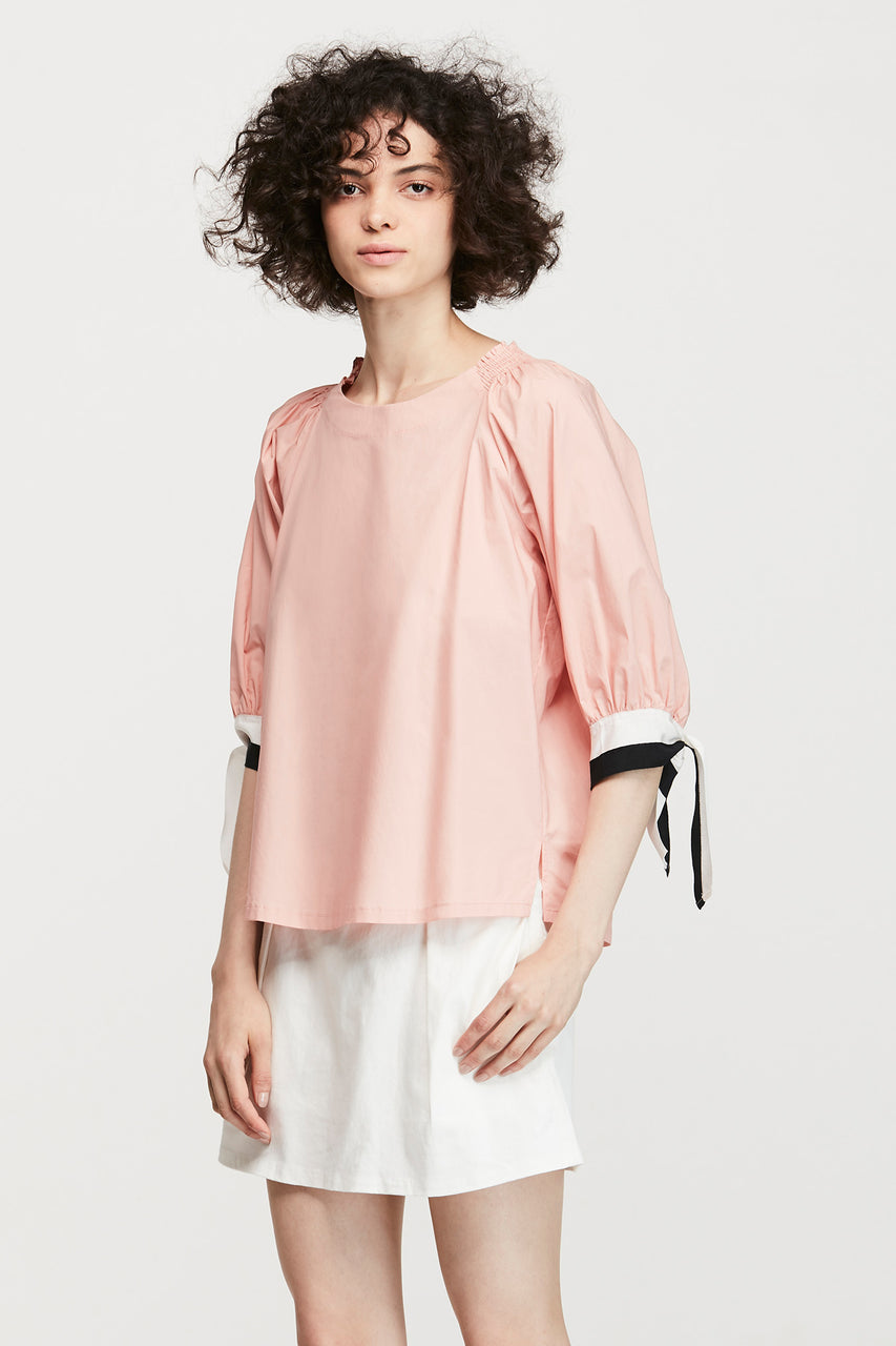RIBBON SLEEVES BLOUSE