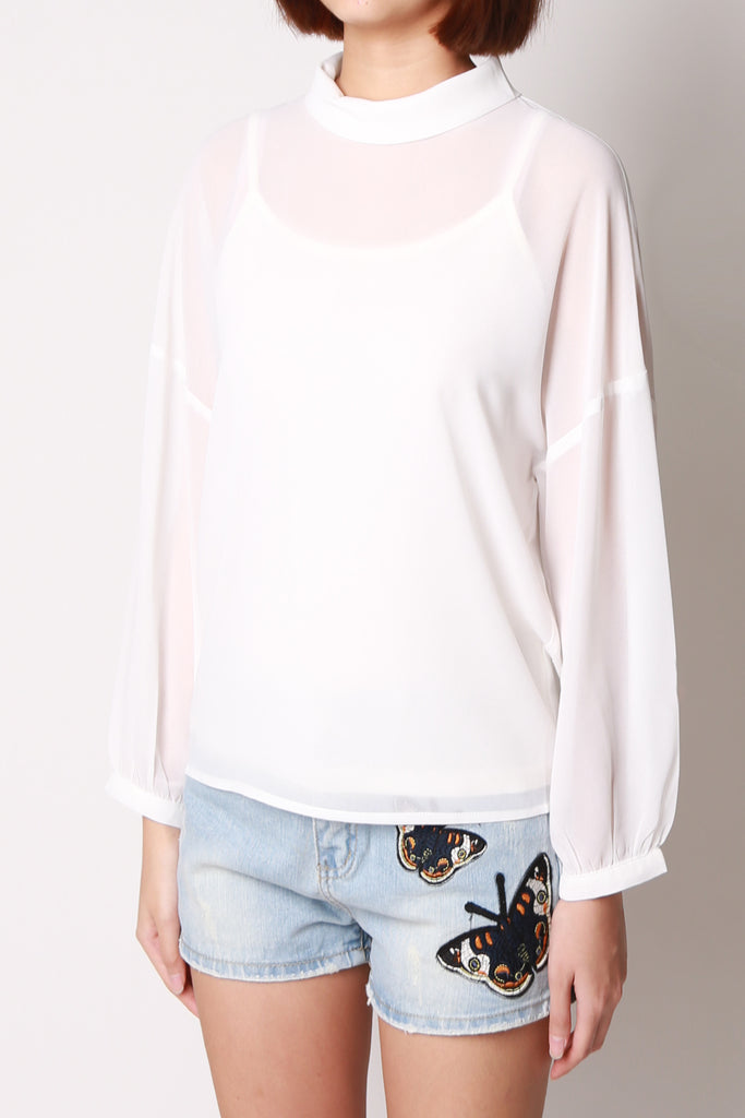 Turtle Neckline Bell Sleeve Blouse
