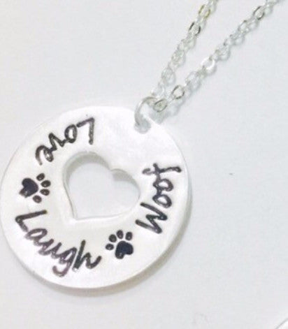 CLEARANCE Love, Laugh, Woof necklace