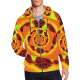 Orange Glow Men's All Over Print Full Zip Hoodie (Model H14)