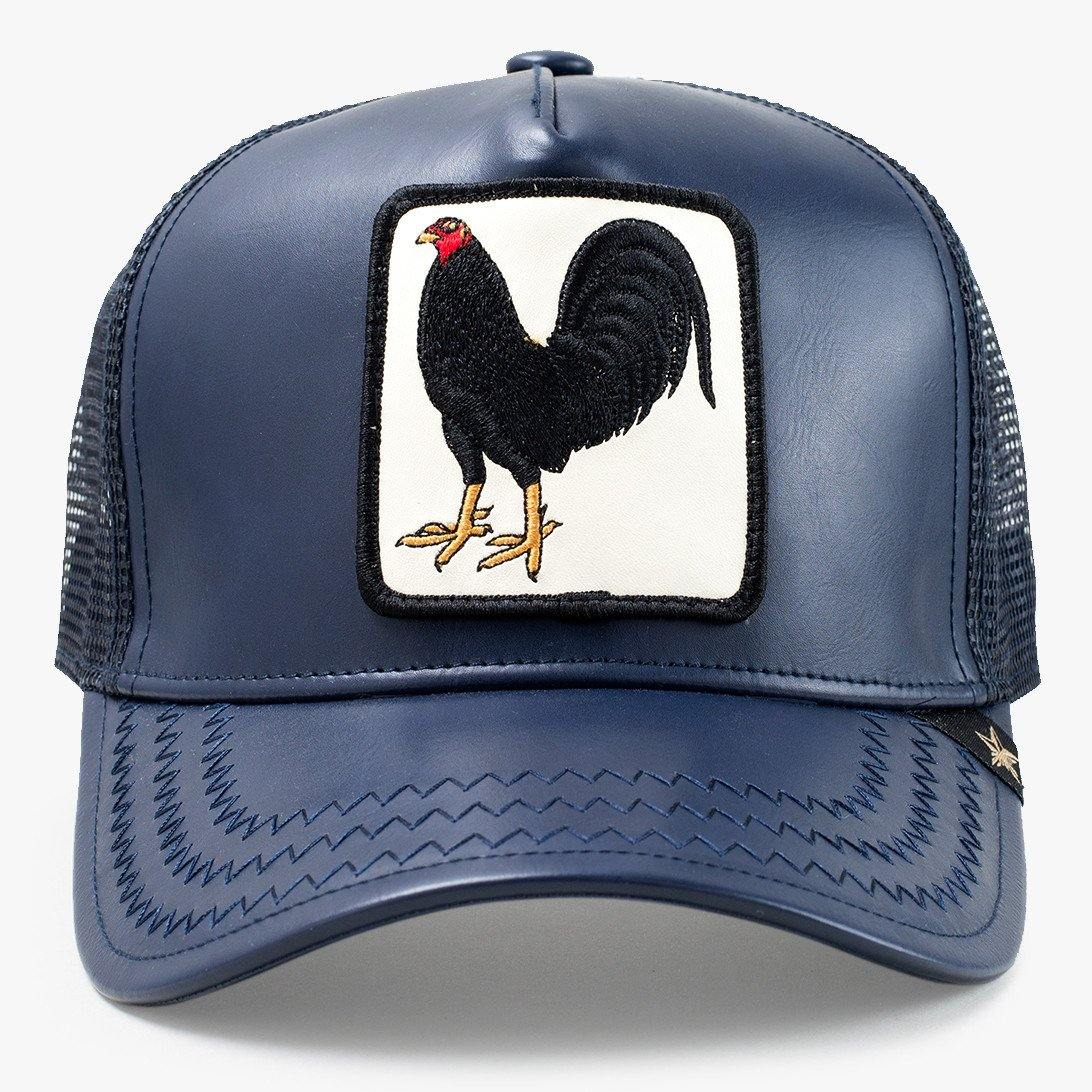 8b3a986436674 Cock Leather Fighting Navy Trucker Hat