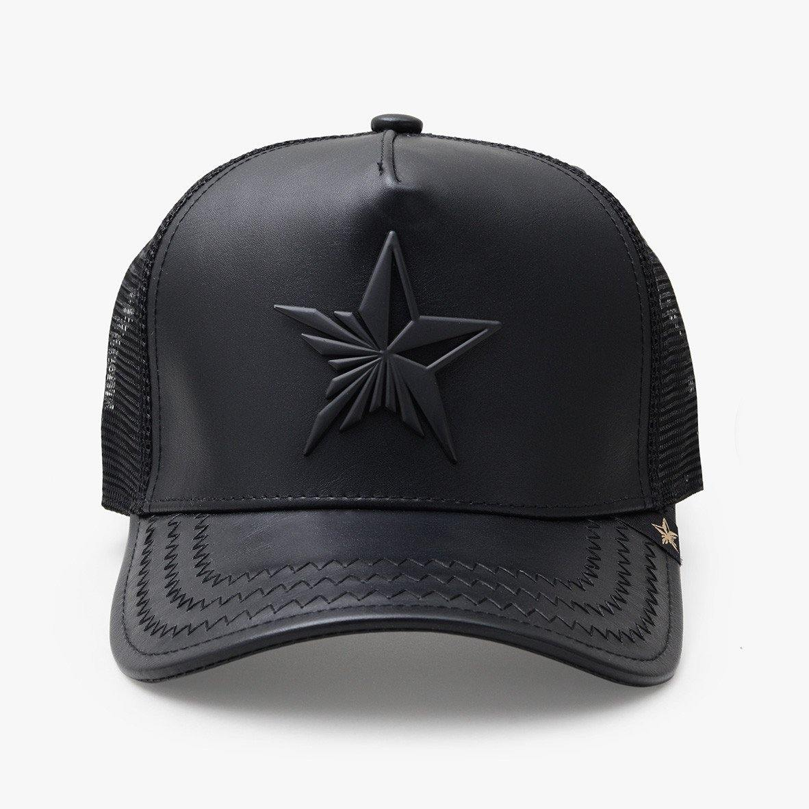 Star Leather Black Trucker Hat