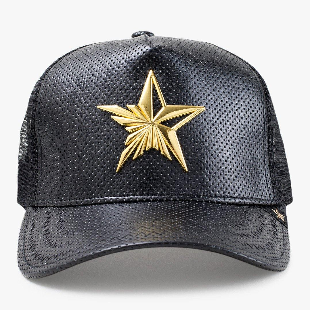 Star Leather Gold & Black Trucker Hat