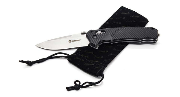 GANZO G716 Beadblast 440C Black G10 Folding Knife