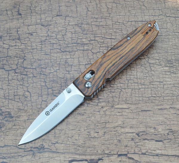 GANZO G746-1-WD1 Satin 440C Wood Folding Knife